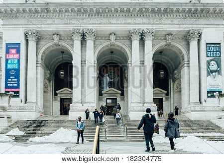 New York City USA- March 20 2017: Exterior of famous NYC public library. With 53 million items the NYC Public Library is the second largest public library in the USA