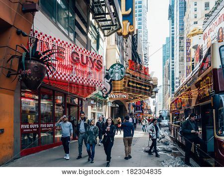 New York City Usa - March 21 2017: Starbucks Coffee. Starbucks Corporation is an American global coffee company and coffeehouse chain based in Seattle Washington