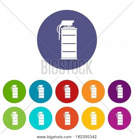 Middle finger hand sign icons set in circle isolated flat vector illustration