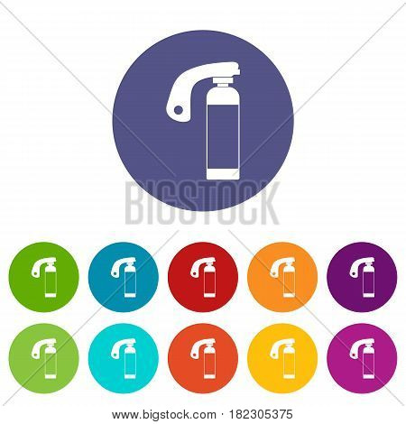 Stun grenade icons set in circle isolated flat vector illustration