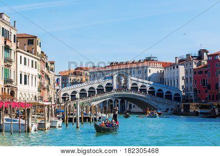 Grand Canal With Rialto Bridge In Venice, Italy