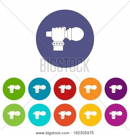 Headphone icons set in circle isolated flat vector illustration