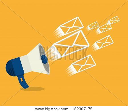 megaphone with envelopes isolated icon vector illustration design
