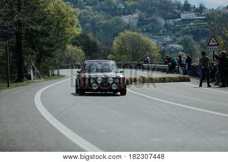 Trieste Italy - April 2 2017: Photo of a Lancia Fulvia HF on the Trieste Opicina Historic. Trieste Opicina Historic is regularity run for vintage and classic Cars.