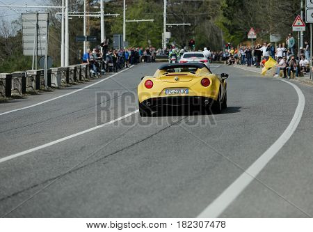 Trieste Italy - April 2 2017: Photo of a Alfa Romeo 4c spider on the Trieste Opicina Historic. Trieste Opicina Historic is regularity run for vintage and classic Cars.