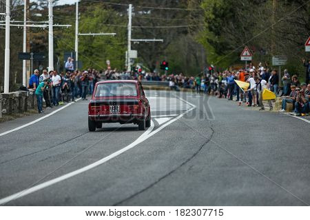 Trieste Italy - April 2 2017: Photo of a Fiat Giannini 128 on the Trieste Opicina Historic. Trieste Opicina Historic is regularity run for vintage and classic Cars.