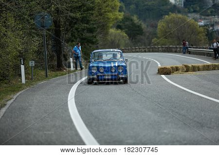 Trieste Italy - April 2 2017: Photo of a Renault Gordini on the Trieste Opicina Historic. Trieste Opicina Historic is regularity run for vintage and classic Cars.