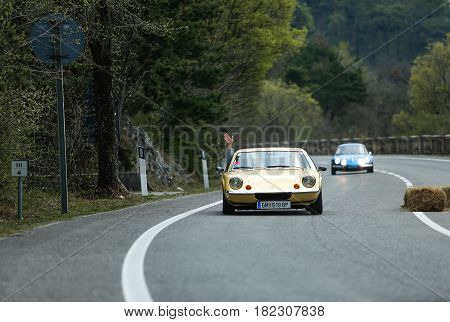 Trieste Italy - April 2 2017: Photo of a Lotus on the Trieste Opicina Historic. Trieste Opicina Historic is regularity run for vintage and classic Cars.