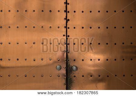 Abstract bronze metallic patterned door