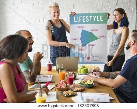 Diverse people having healthy lifestyle meeting