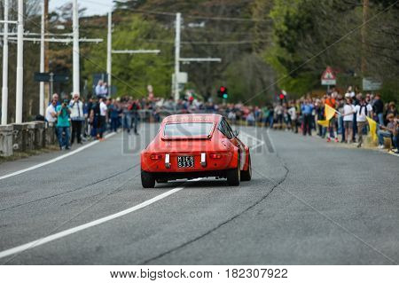 Trieste Italy - April 2 2017: Photo of a Lancia Supersport Zagato on the Trieste Opicina Historic. Trieste Opicina Historic is regularity run for vintage and classic Cars.