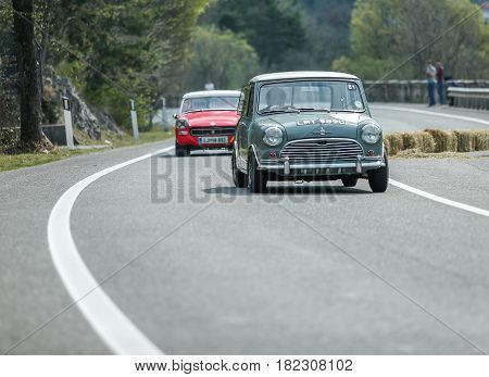 Trieste Italy - April 2 2017: Photo of a Mini Morris S on the Trieste Opicina Historic. Trieste Opicina Historic is regularity run for vintage and classic Cars.