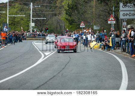 Trieste Italy - April 2 2017: Photo of a Alfa Romeo Giulietta SS 1959 on the Trieste Opicina Historic. Trieste Opicina Historic is regularity run for vintage and classic Cars.