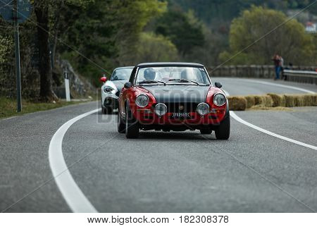 Trieste Italy - April 2 2017: Photo of a Abarth 124 Rally 1973 on the Trieste Opicina Historic. Trieste Opicina Historic is regularity run for vintage and classic Cars.