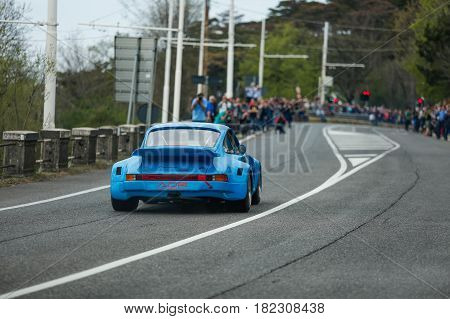 Trieste Italy - April 2 2017: Photo of a Porsche 911 Carrara RSR 1970 on the Trieste Opicina Historic. Trieste Opicina Historic is regularity run for vintage and classic Cars.