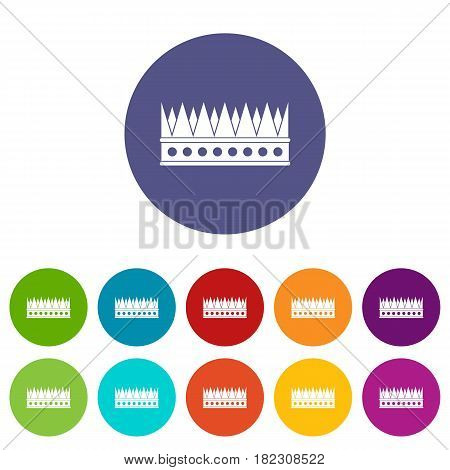 Kingly crown icons set in circle isolated flat vector illustration