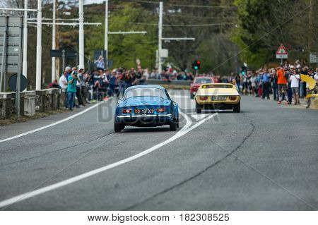 Trieste Italy - April 2 2017: Photo of a Renault Alpine a110 1970 Berlinette on the Trieste Opicina Historic. Trieste Opicina Historic is regularity run for vintage and classic Cars.