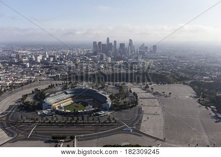 Los Angeles, California, USA - April 12, 2017:  Aerial view of the Dodger Stadium with downtown LA in background.