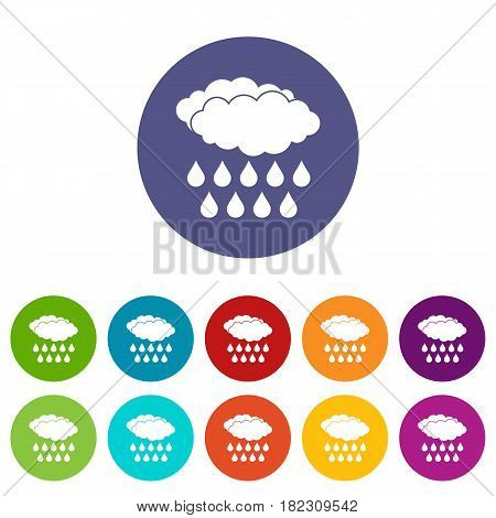 Water tap icons set in circle isolated flat vector illustration