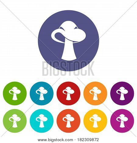 Amanita icons set in circle isolated flat vector illustration