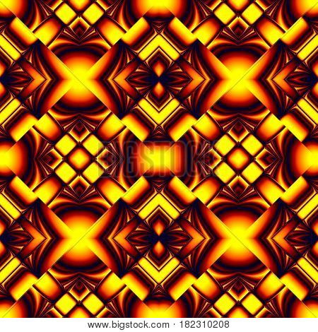 fiery red seamless pattern stylized molten metal in the form of different elements stacked rhombus with refraction and reflection of light