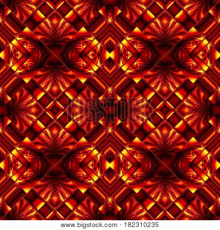 fiery red seamless pattern stylized as hot metal stripes and sophisticated swirls in a demonic style