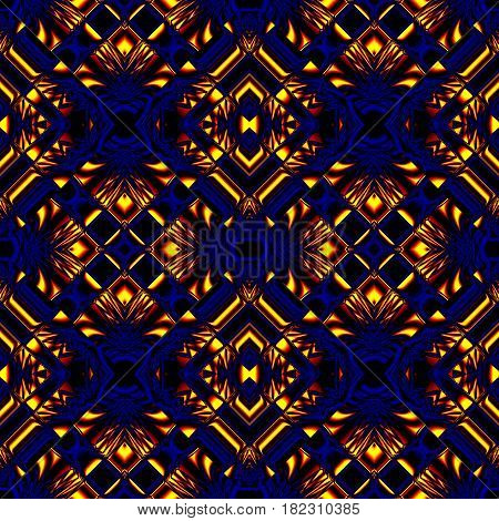 stylized yellow, blue seamless pattern with classic stripes and swirls in the form of lozenges for fabrics and tablecloths and decorations