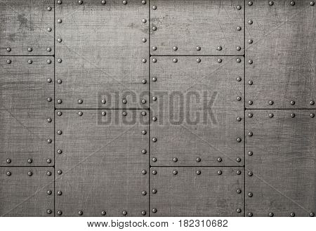 Dark metal plates with rivets background or texture 3d illustration