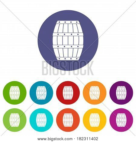 Four bottles of wine in a wooden box icons set in circle isolated flat vector illustration