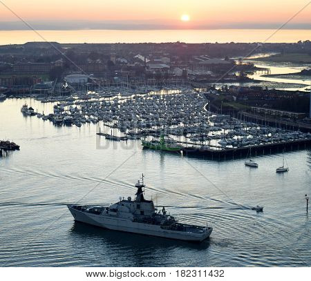 Naval Ship, Portsmouth Harbor, England United Kingdom