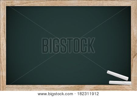 Empty Chalkboard, Chalk Board With Chalk In The School Space For Chalk Text