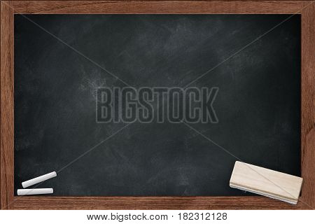 empty chalkboard chalk board with chalk dirty with chalk erase stain in the school space for chalk text