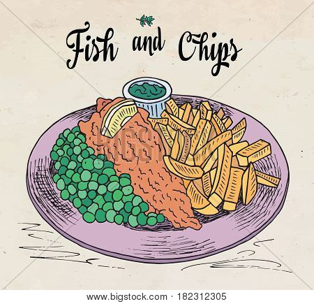 traditional english dish fish and chips. Restaurant menu.