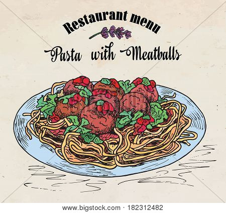 beautiful hand drawing pasta with meatballs with tomato sauce. Restaurant menu.