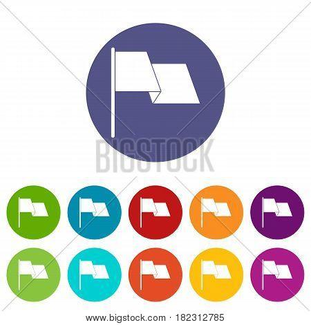 Businessman holding smile mask icons set in circle isolated flat vector illustration