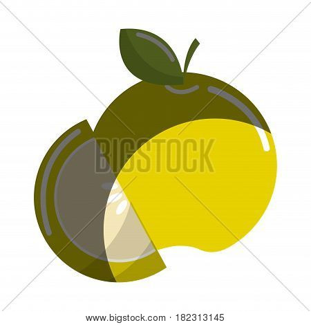 green apple fruit icon stock, vector illstration design image