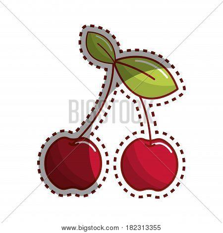 sticker cherry fruit icon stock, vector illustration design image