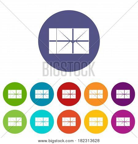 Mailbox icons set in circle isolated flat vector illustration