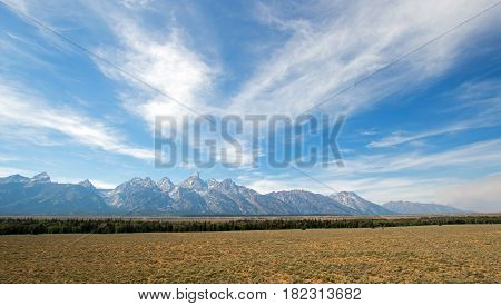 Grand Teton Peaks seen from Glacier View Turnout in Grand Teton National Park in Wyoming USA
