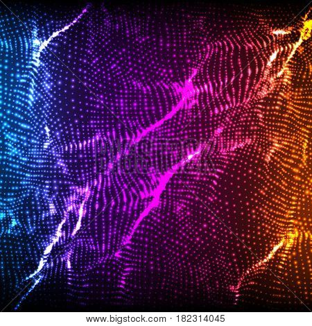 Abstract vector violet wave mesh background. Point cloud array. Chaotic light waves. Technological cyberspace background. Cyber waves.