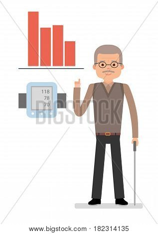 An elderly man points to chart raise blood pressure, close pressure gauge man. Medical and health care. Flat vector illustration