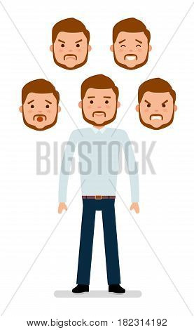 Young Manager in a shirt and trousers without a tie, with different facial expressions. Joy, sadness, anger, surprise, irritation. Man different emotions. Avatar icons. Flat vector illustration