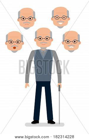 Aged Man with different facial expressions. Joy, sadness, anger, surprise, irritation. Man different emotions. Avatar icons. Flat vector illustration