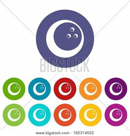 Marbled bowling ball icons set in circle isolated flat vector illustration