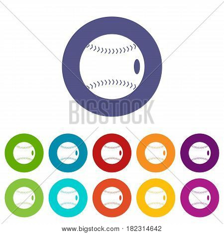 Baseball ball icons set in circle isolated flat vector illustration