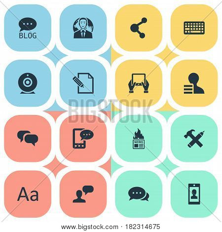 Vector Illustration Set Of Simple Newspaper Icons. Elements Keypad, Repair, Gossip And Other Synonyms Hand, Network And Forum.