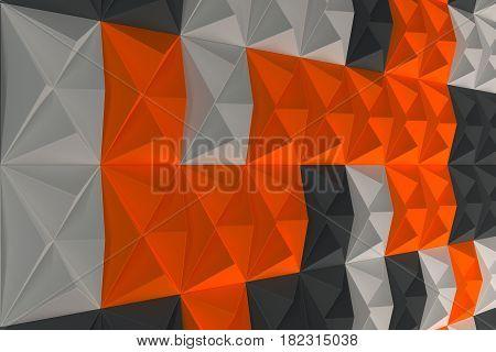 Pattern Of Black, White And Orange Pyramid Shapes