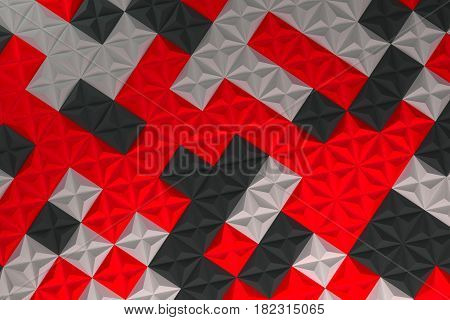Pattern Of Black, White And Red Pyramid Shapes