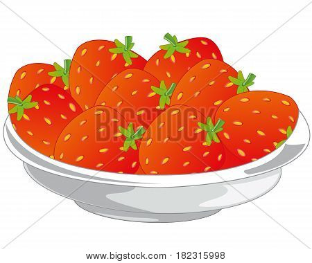 Ripe berry strawberries in plate on white background