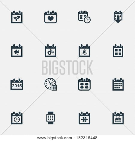 Vector Illustration Set Of Simple Date Icons. Elements Deadline, Almanac, Reminder And Other Synonyms Time, Autumn And Summer.